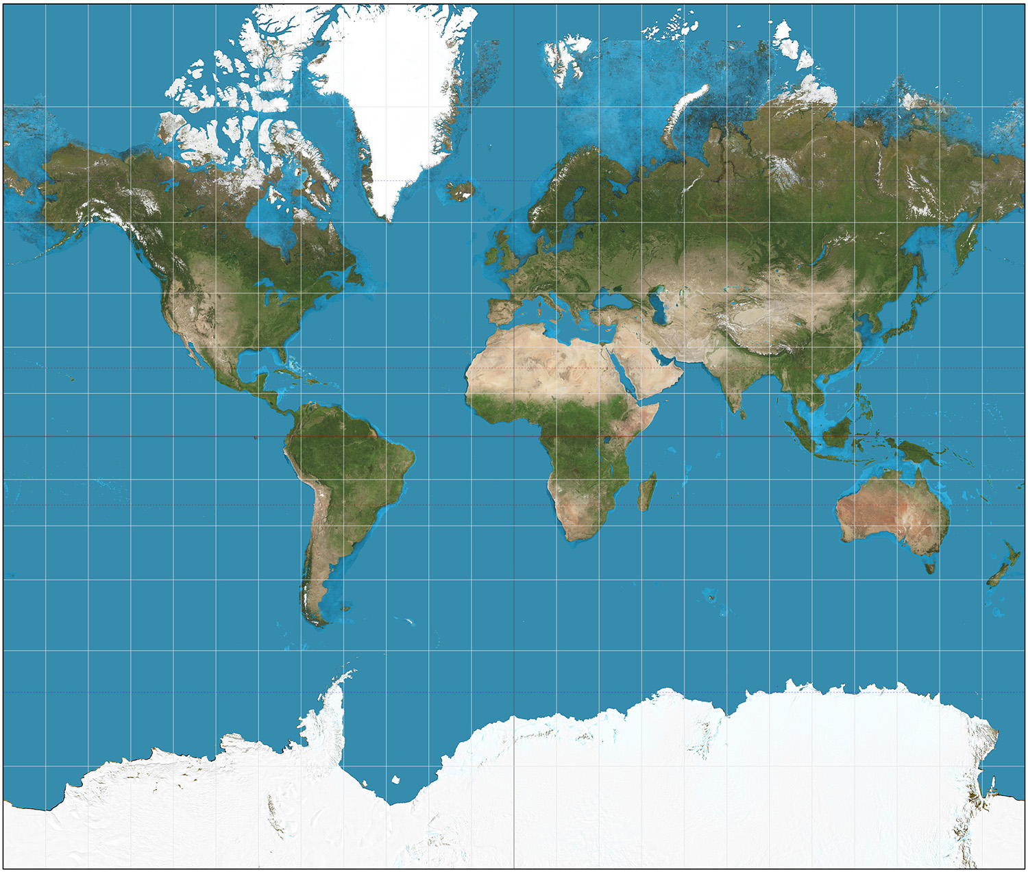 Mercator projection of the world centred around Europe.  Purpose of image is to highlight how a 2D representation of the world is not accurate.  © Daniel R. Strebe, 15 August 2011 / Wikimedia Commons / CC-BY-SA-3.0